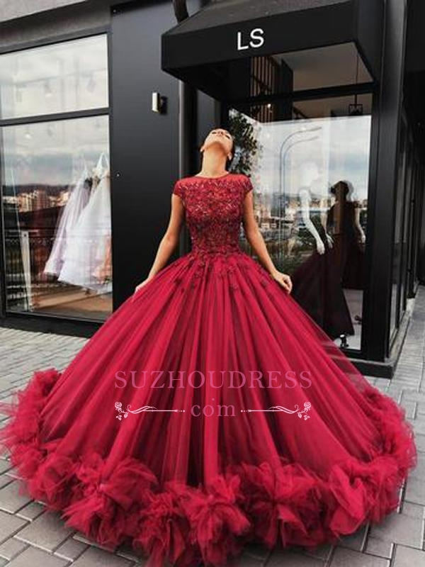 2020 Burgundy Short Sleeves Ball Evening Dresses   Luxury Tulle Appliques Prom Dresses