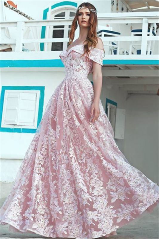 Elegant Pink Off Shoulder Evening Dresses Cheap | 2020 A-Line Lace Long Formal Dress