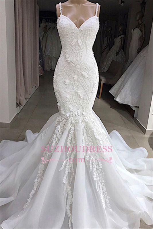 Excellent Sweetheart Spaghetti-Straps Sleeveless Appliques Mermaid Wedding Dresses