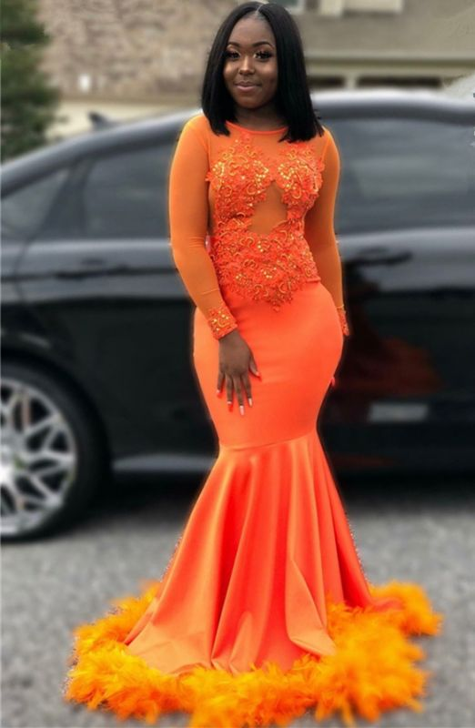 Feather Mermaid Orange Prom Dresses Cheap 2020 | Long Sleeve Sparkle Appliques Evening Gowns