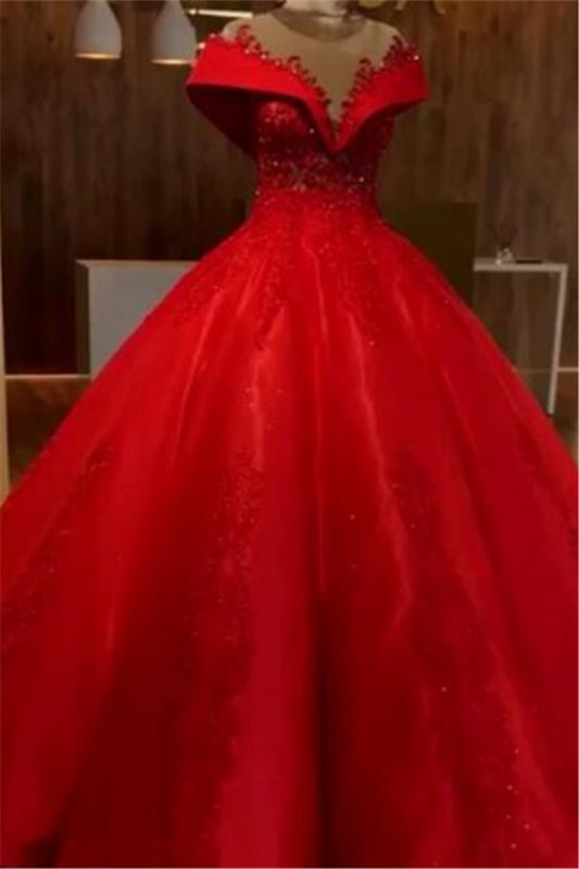 Red Off The Shoulder Ball Gown Quinceanera Dresses | 2020 Lace Crystal Puffy Evening Dress