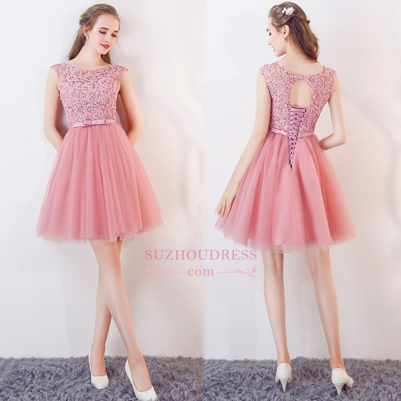 Bowknot Pink Lace Tulle Short Homecoming Dresses | Cheap 2020 Short Bridesmaid Dresses Online