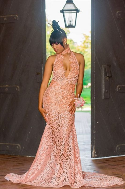 Pink Lace Halter Mermaid Prom Dresses | Sexy Backless Sleeveless Evening Gowns