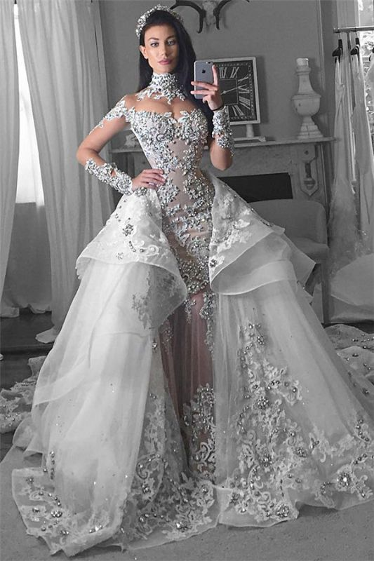 Glamorous Long Sleeves Tulle High Neck 2020 Bride Dresses Appliques Wedding Dresses with Detachable Overskirt qq0375