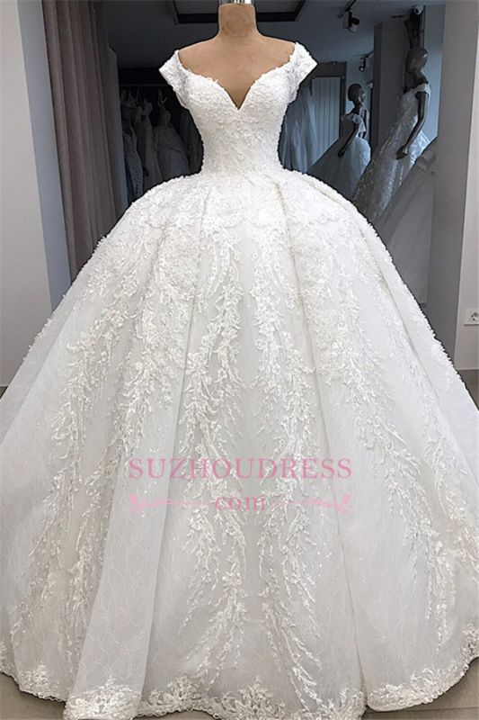 V-neck Fascinating Appliques Cap-Sleeves Ball-Gown Wedding Dresses