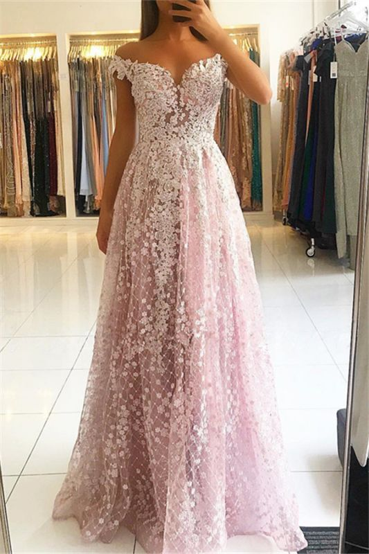 2020 Pink Elegant Lace Evening Dresses | Off Shoulder A-Line Cheap Evening Gowns