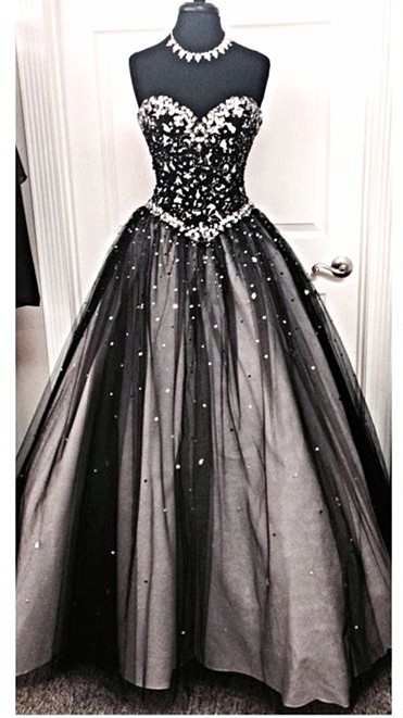 Sparkly A-Line Sweetheart Black Wedding Dress with Rhinestone Beautiful Lace-Up Quinceanera Dress