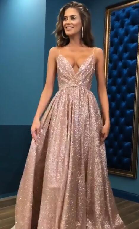 Sexy Sequins Simple Spaghetti Straps Evening Dresses | 2020 Cheap Open Back Sleeveless Prom Dress BC0494