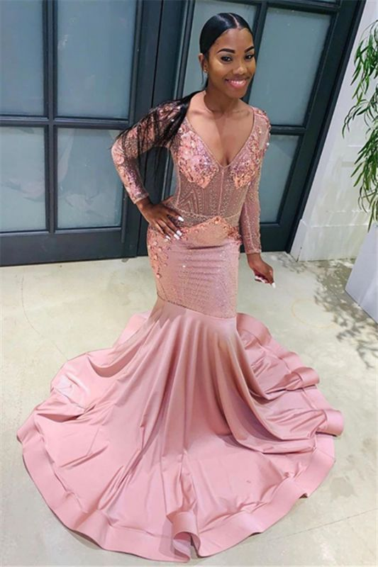 Pink Beads Sequins V-neck Prom Dresses | Mermaid Long Sleeve Cheap Evening Dresses