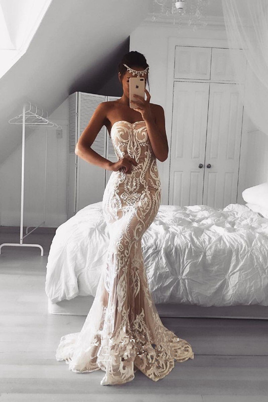Strapless Lace Appliques Sexy Prom Dress | Floor Length Sleeveless Cheap Evening Dresses