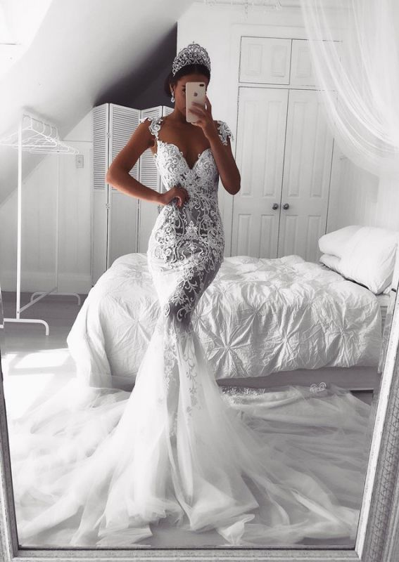 Charming Lace Mermaid Wedding Dress Long Zipper Button Back Bridal Gowns