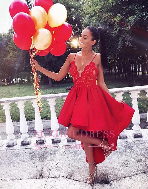 2020 Cute Red Lace High-low V-neck A-line Homecoming Dress LPL323