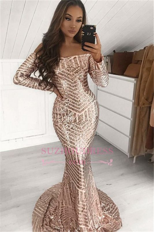 Sexy Sequins Off-The-Shoulder Prom Dresses | Cheap Mermaid Long-Sleeves Evening Dresses 2020 bc1643