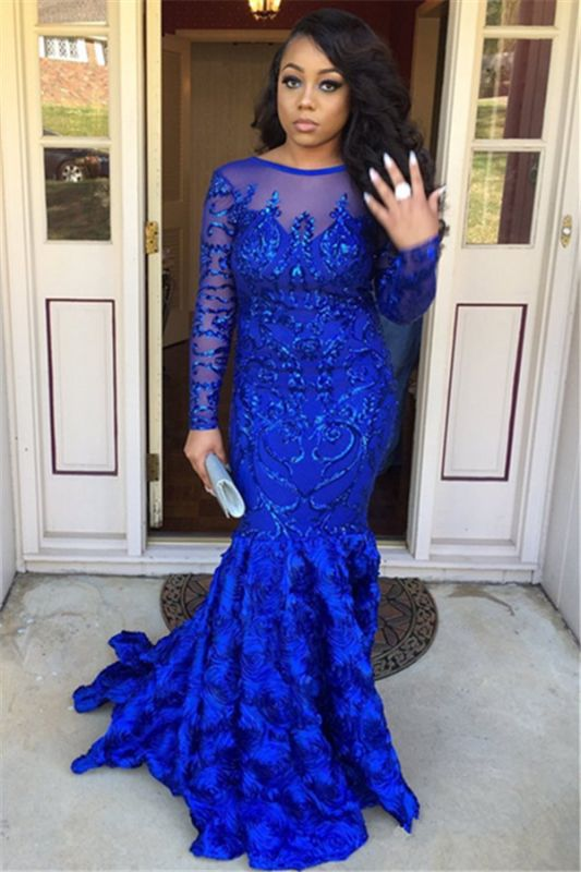 Royal Blue Long Sleeves Mermaid Prom Dresses | 2020 Sexy Backless Evening Dresses SK0158