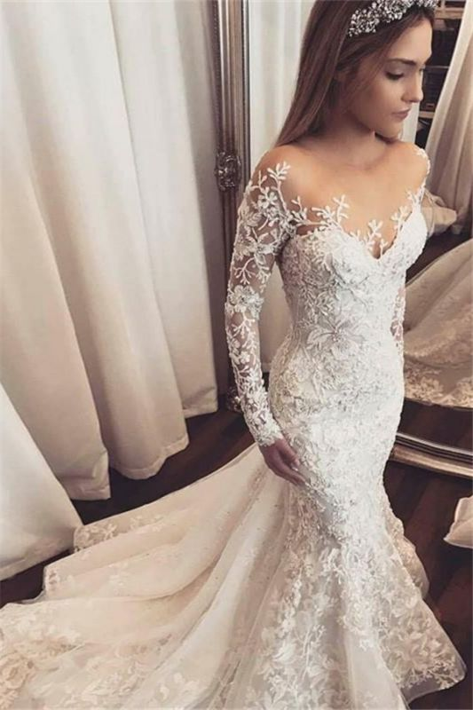 Elegant Long Sleeves Mermaid Wedding Dresses 2020 | Sheer Tulle Lace Bridal Gowns with Buttons BC1509