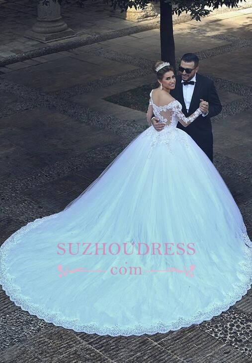 Puffy Tulle Ball Gown Bride Dress Appliques Long Sleeves Lace Elegant Long Train Wedding Dresses