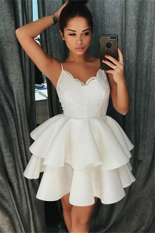 2020 Cheap A-Line Tiered Homecoming Dresses | Spaghetti Straps Appliques Short Hoco Dress