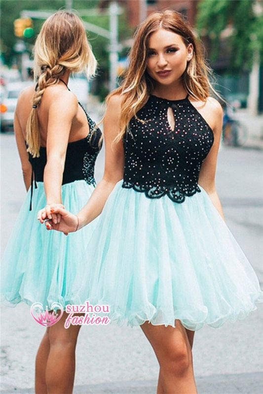 Beaded Short Halter Lace A-line Ruffles Homecoming Dress