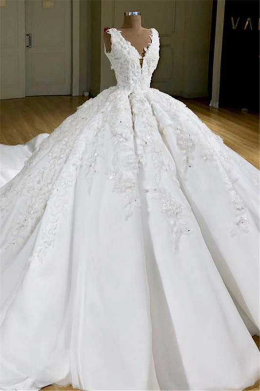 Luxury V-neck Appliques Ball Gown Wedding Dresses | Delicate Princess Bridal Gowns
