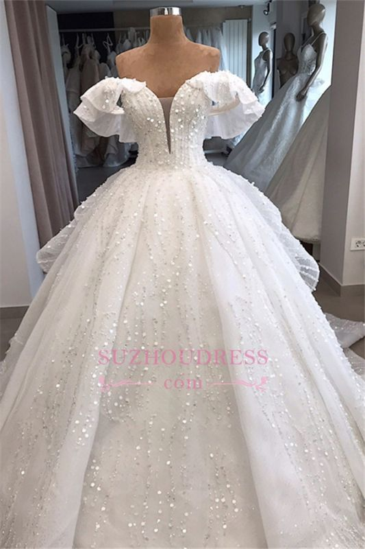 Ball-Gown Beaded Sequined Off-the-shoulder White Alluring Wedding Dresses