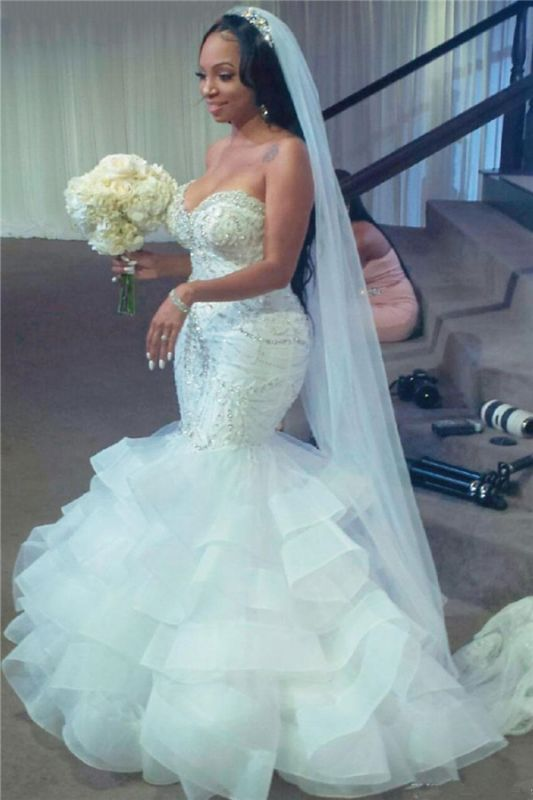 Strapless Mermaid Beads Crystals Ruffles Sexy Wedding Dresses Cheap