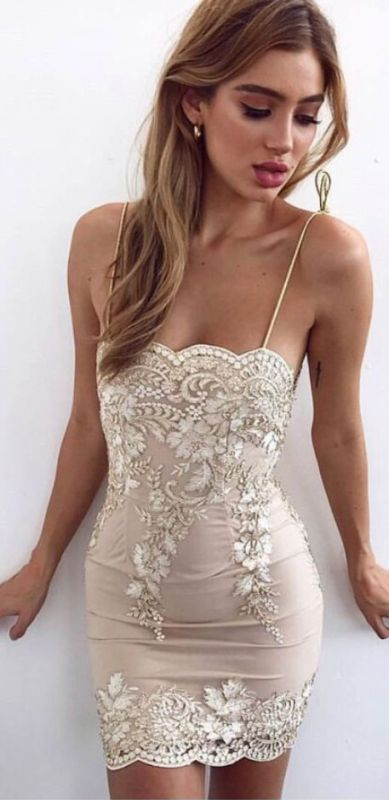 Sexy Sheath Spaghetti Straps Short Homecoming Dresses | 2020 Appliques Cheap Hoco Dresses
