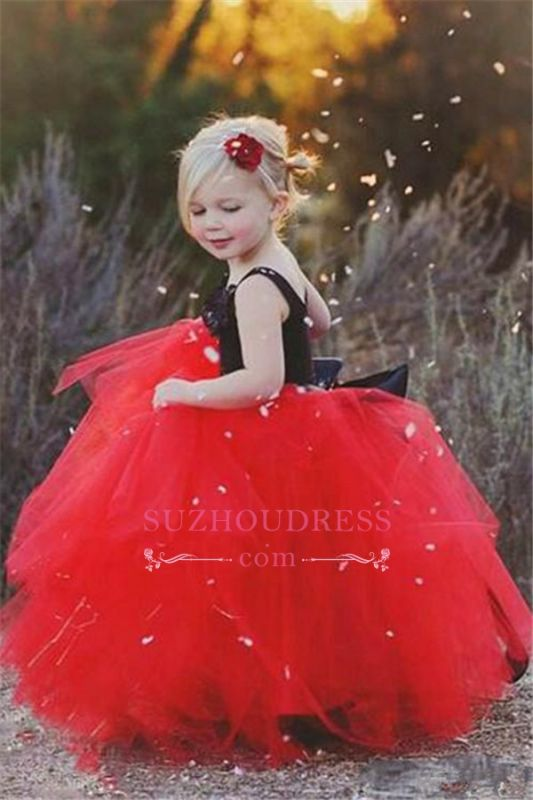 2020 Cheap Black Appliques Red Tulle Puffy Cheap Flowers Girl Dress