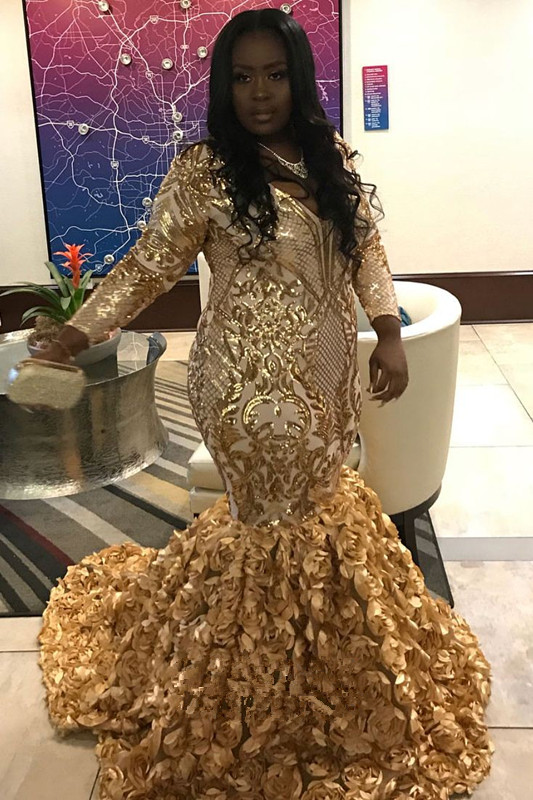 Gorgeous Gold Flower Long Sleeve Prom Dress | Shiny Sequins V-neck Evening Dresses