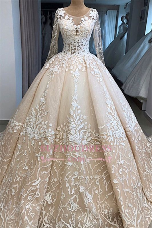 Appliques Ball-Gown Long-Sleeves Scoop Brilliant Wedding Dresses