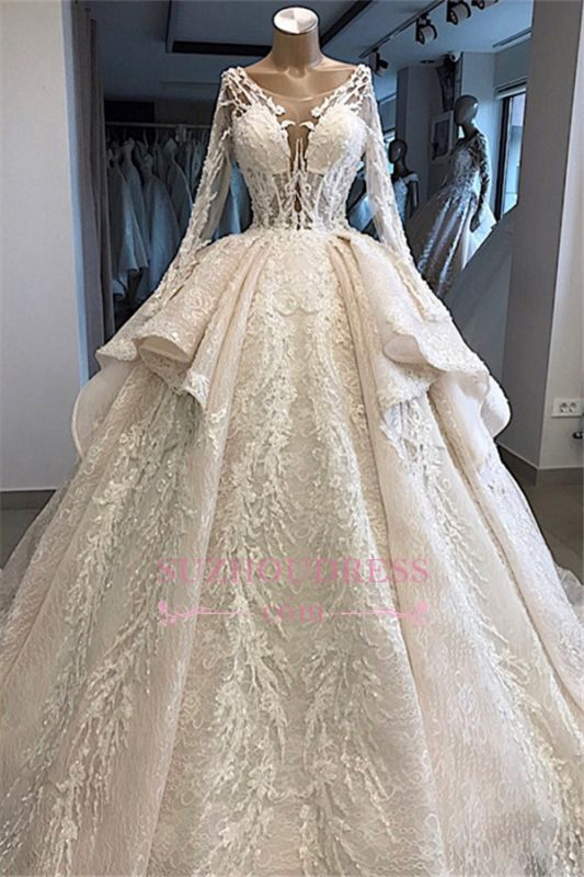 Amazing Layered Scoop Long-Sleeves Appliques Wedding Dresses