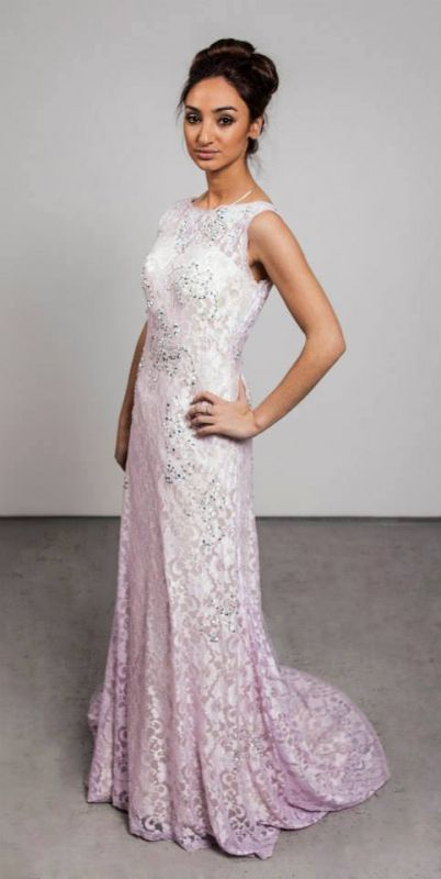 Crystal Pink Lcae Long Evening Dress with Beadings New Arrival Open Back Prom Dress