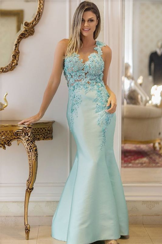 Straps Beads Sequins Appliques Evening Dresses Cheap | Sleeveless Sexy Mermaid Prom Dresses 2020