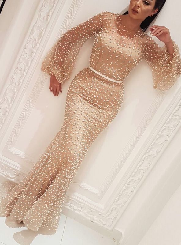 Sexy Long Sleeves Prom Dresses 2020 | Cheap Sheath Beaded Evening Dresses BC0932