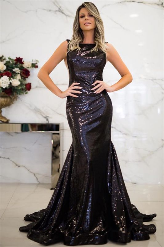 Sparkly Black Sequins Open Back Prom Dresses Cheap | Sleeveless Mermaid Evening Gowns 2020