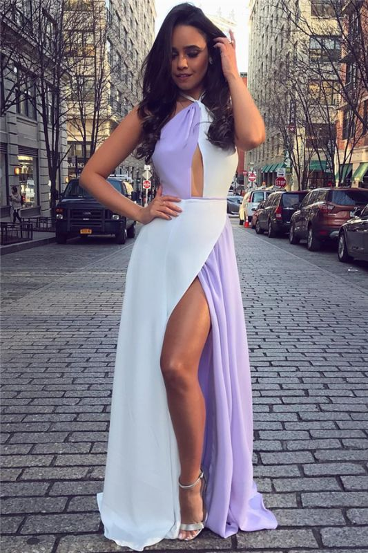 White and Lavender Sexy Split Evening Dresses Cheap | Halter Sleeveless Chiffon 2020 Formal Dress