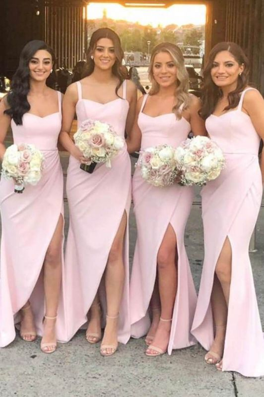 Straps Sexy Slit Cover Around Long Pink Bridesmaid Dresses Cheap Online