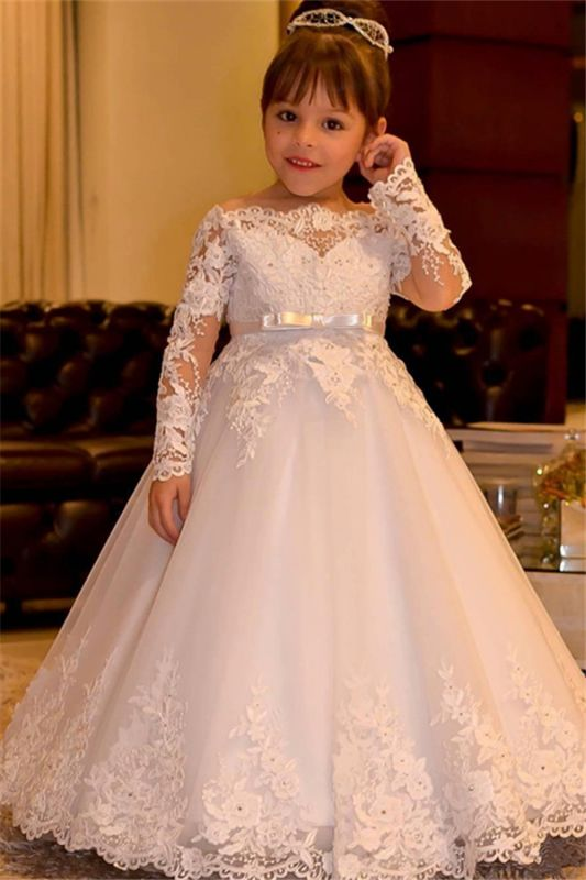 Lovely White Long Sleeves Flower Girl Dresses | Off Shoulder Lace Appliques Pageant Dress