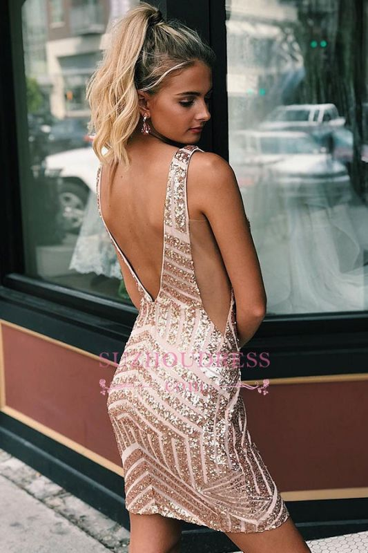 Sequined Sheath Alluring V-neck Cocktail Dresses
