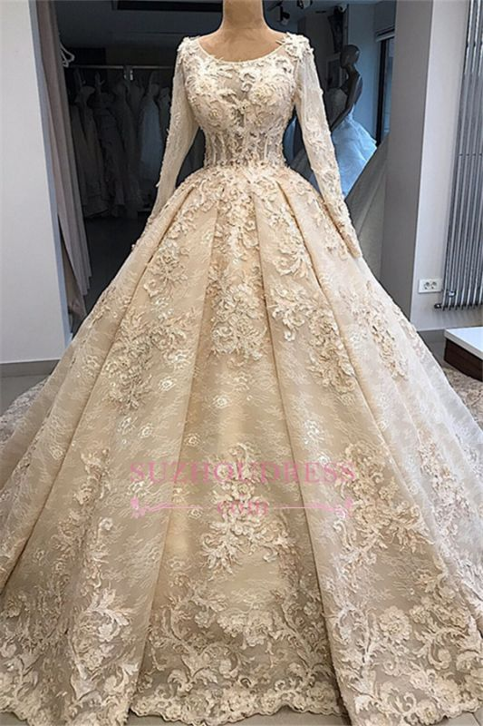 Appliques Ball-Gown Scoop Excellent Long-Sleeves Wedding Dresses