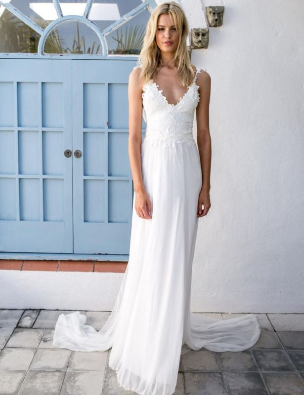 2020 Summer Beach Wedding Dresses Cheap Lace Chiffon Backless Bridal Dress with Sash