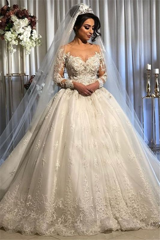 White Sheer Tulle Ball Gown Wedding Dresses | Exquisite Appliques Bridal Gowns 2020