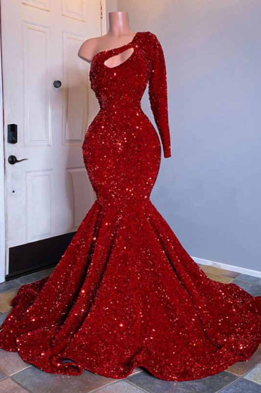 One Shoulder Mermaid Red Prom Dresses | Cheap Sequins Evening Gowns 2020 BC3613