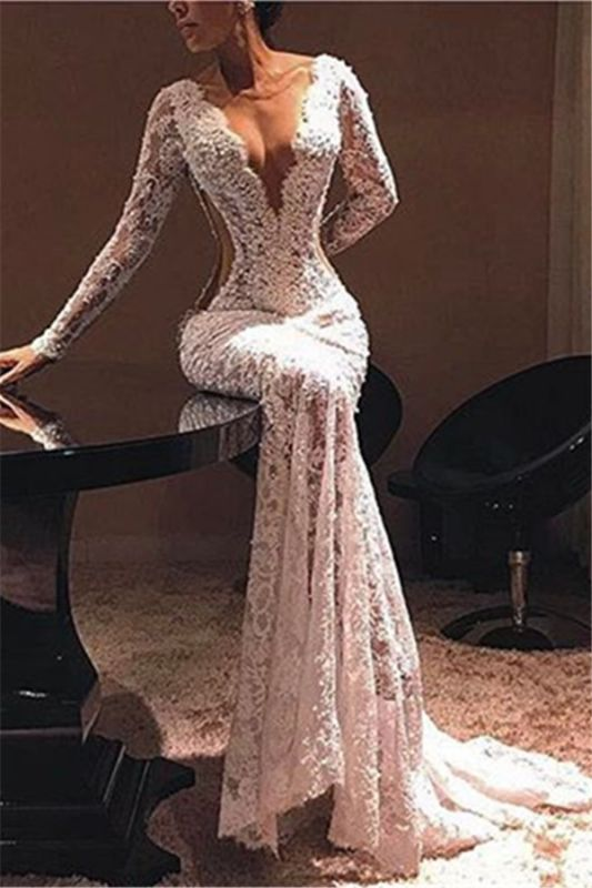 Sexy Lace V-Neck Evening Dresses 2020 | Cheap Lace Beads Prom Dresses with Sleeves