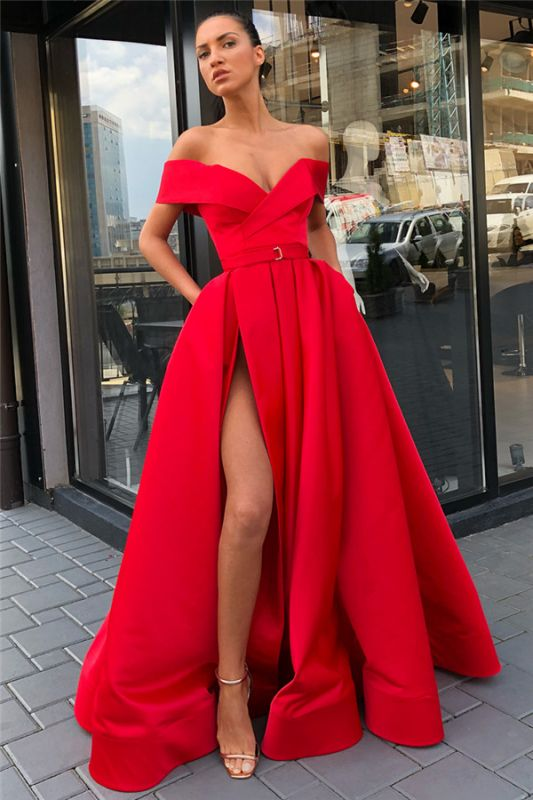 Off The Shoulder Sexy Slit Long Formal Dresses Cheap Online