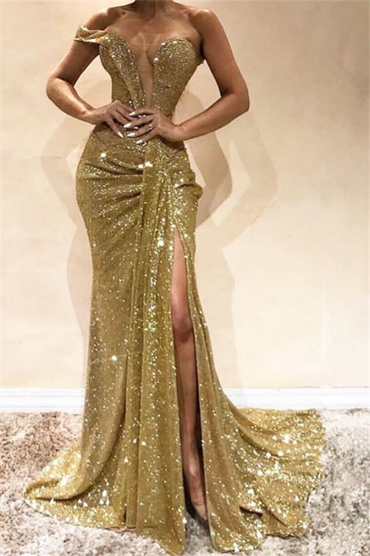 Gold Sequins One Shoulder Evening Dresses | Sexy Split Cheap Prom Dresses 2020 BC0355