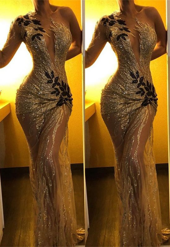 One Shoulder Long Sleeve Gold Sequins Prom Dresses 2020 | Sexy Sheer Tulle Black Appliques Cheap Evening Gowns