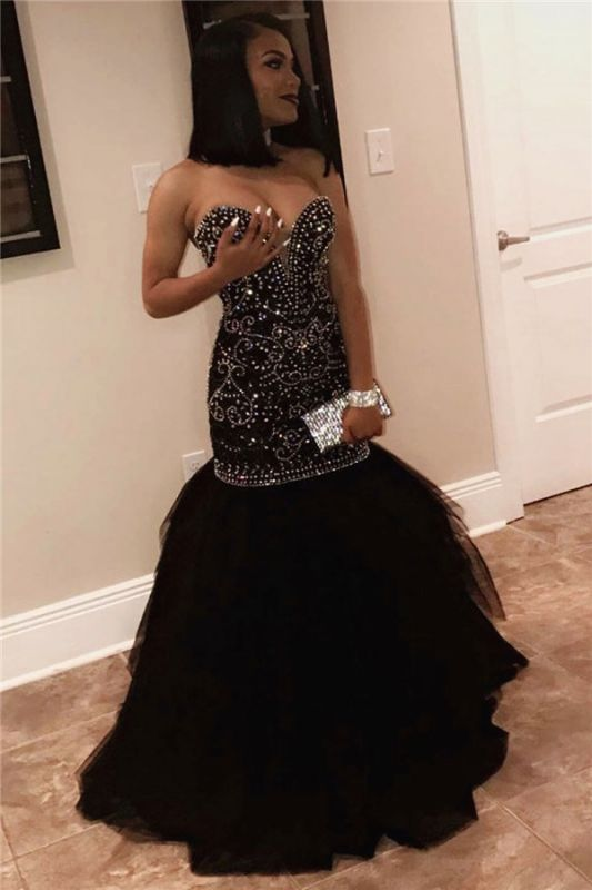 Sexy Sweetheart Beads Prom Dresses 2020 | Mermaid Black Sequins Cheap Evening Gown FB0275