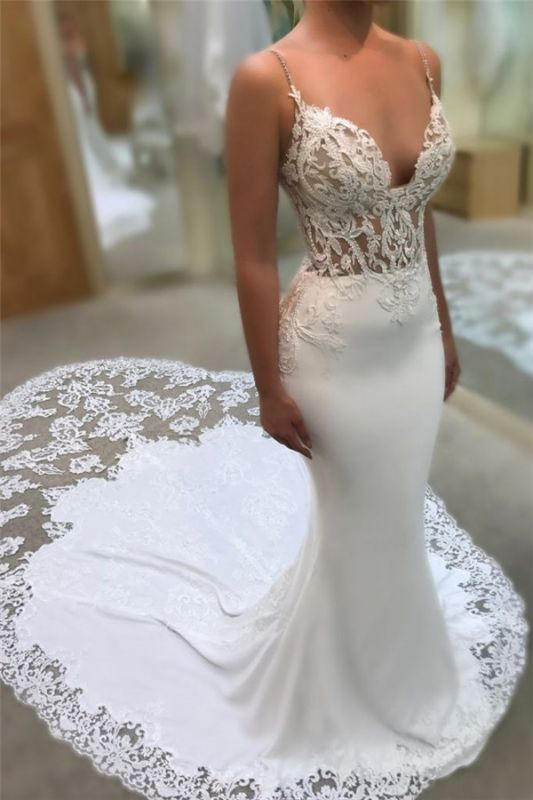 Sexy Mermaid Spaghetti Straps Wedding Dresses | 2020 Lace Open Back Bridal Gowns EN0025