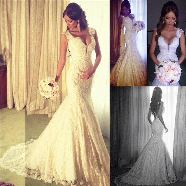 Sexy Mermaid V Neck Wedding Dress Sparkly Lace 2020 Bridal Gowns Bo4457 Suzhoufashion,Wedding Mother Daughter Same Dress