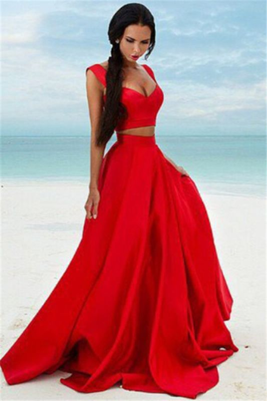 Sexy Two Piece Red Formal Dresses 2020 Cheap Sleeveless Evening Gown BA7932